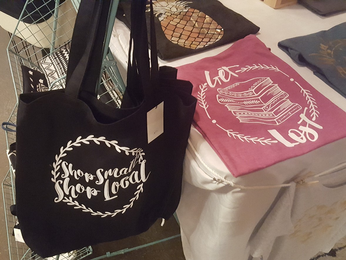 Hand-sewn shopping bag that says Shop Smart, Shop Local